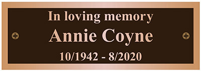 Bronze Bench Plaque In Loving Memory