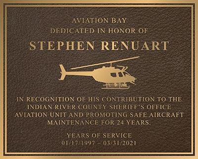 Cast plaque with logo