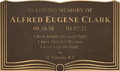 Custom Cast book plaque