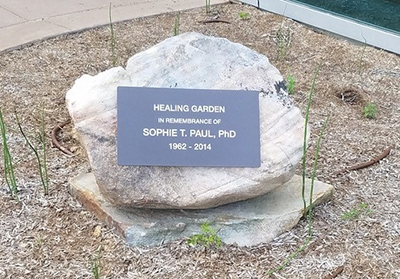 memorial boulder with plaque